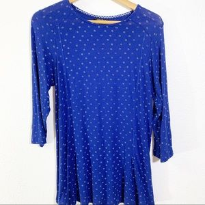 Lucky  Brand Swing  Blue Floral Print Tunic Top